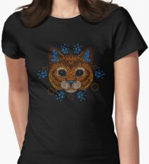 Cat Face Womens Fitted T-Shirt