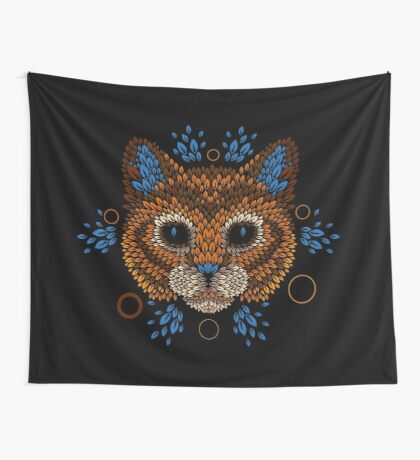 Cat Face Wall Tapestry