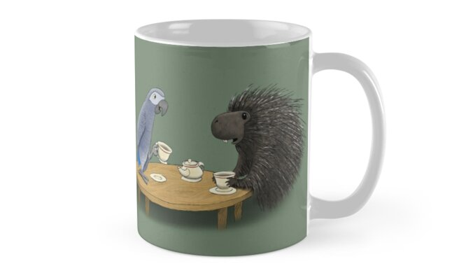 Parrot and Porcupine Share Tea by piploproduction