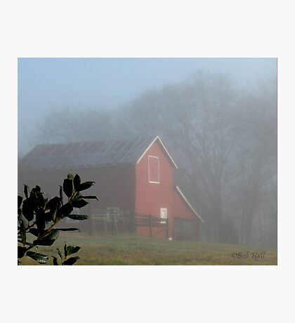 """""""Red Barn Through the Mist""""... prints and products Photographic Print"""