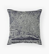 Blueprint Map of Amsterdam circa 1727 Throw Pillow
