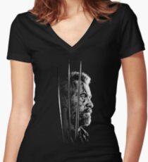 Logan Faded Bust Women's Fitted V-Neck T-Shirt