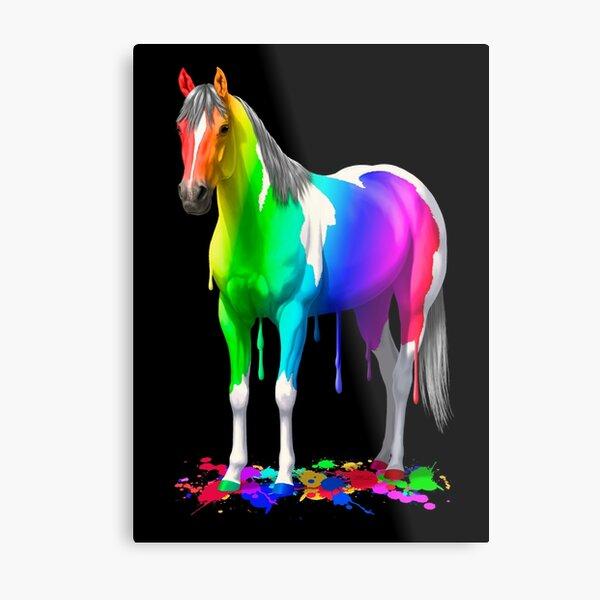 Colorful Rainbow Wet Paint Horse Metal Print