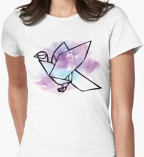 Origami Dove Watercolor Womens Fitted T-Shirt