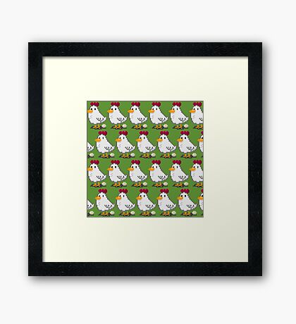 Pixel Chickens Framed Print