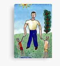 Father & Children Canvas Print