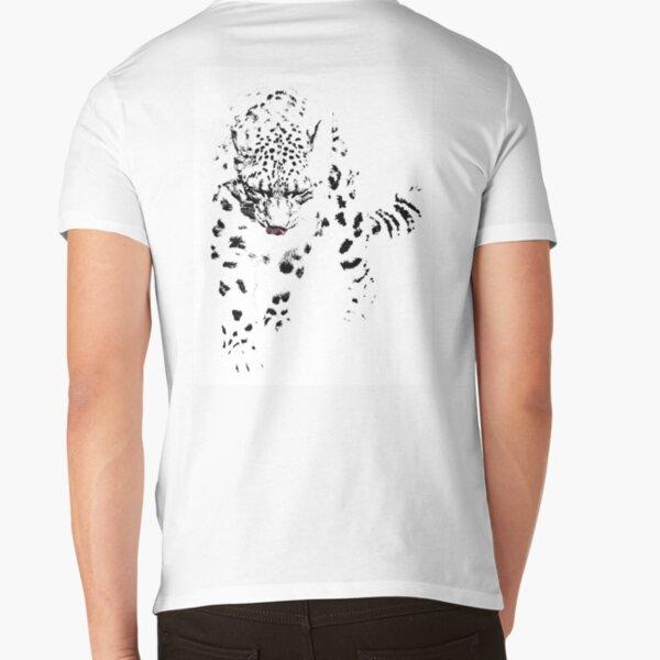 Snow Leopard V-Neck T-Shirt
