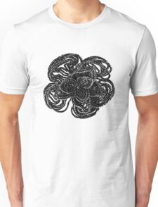 Striking black and white beaded floral design Unisex T-Shirt