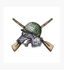 Grey Wolf WW2 Helmet Crossed Rifles Tattoo Photographic Print