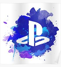 Playstation Watercolor Poster