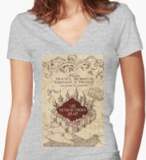 brown map Women's Fitted V-Neck T-Shirt