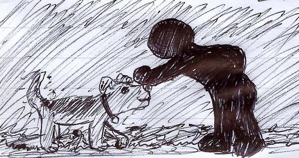 Shadowguy pets a friendly dog by crazynighthawk