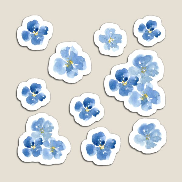 Little Blue Flowers ~ Stickers Magnet