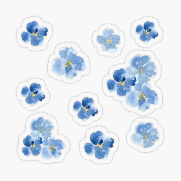 Little Blue Flowers ~ Stickers Transparent Sticker