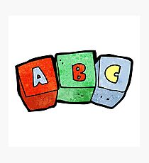 cartoon letter blocks Photographic Print