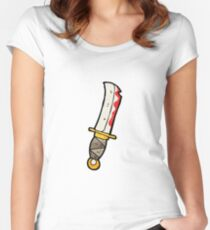 cartoon bloody knife Women's Fitted Scoop T-Shirt