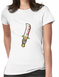 cartoon bloody knife Womens Fitted T-Shirt