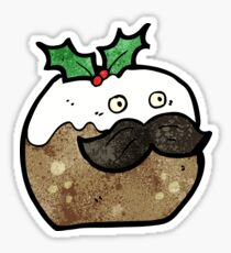 christmas pudding cartoon character Sticker