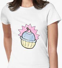 cartoon cupcake Women's Fitted T-Shirt