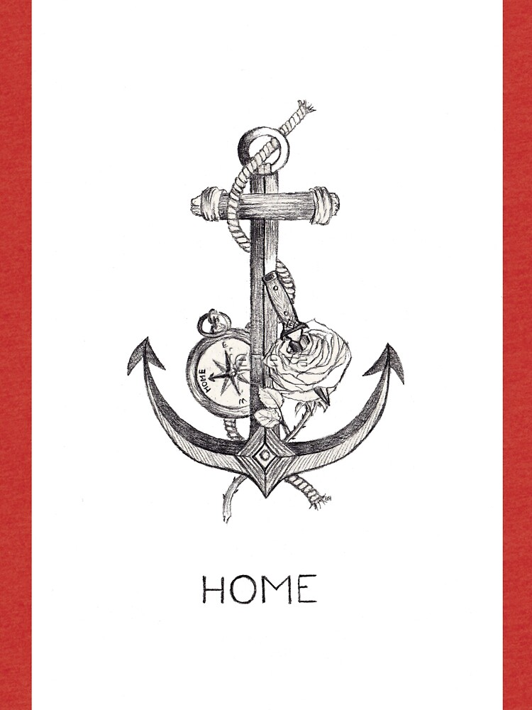Home Ii Anchor Dagger Rose Compass Larry Tattoos Tri Blend T