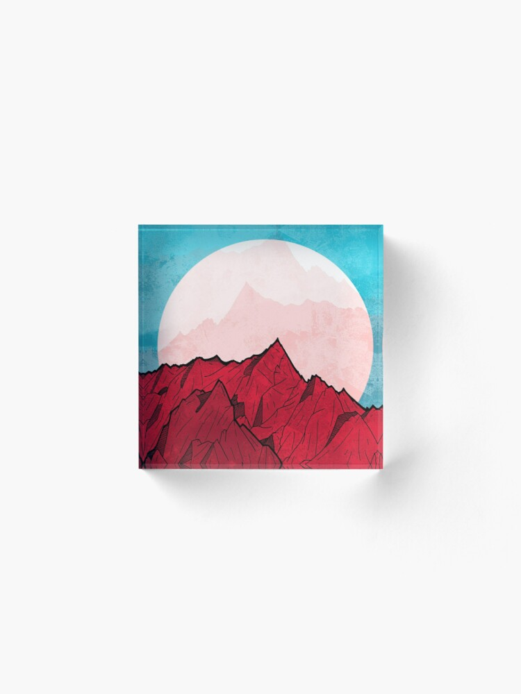 Alternate view of Red mountains under the great moon Acrylic Block