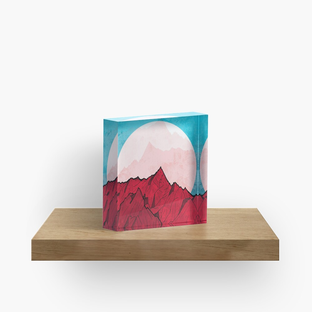 Red mountains under the great moon Acrylic Block
