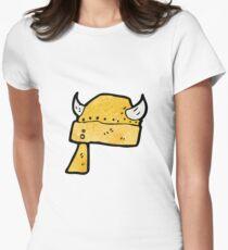 cartoon viking helmet Women's Fitted T-Shirt