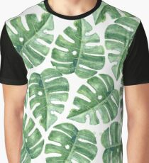 Green Leaves Watercolor Pattern Graphic T-Shirt