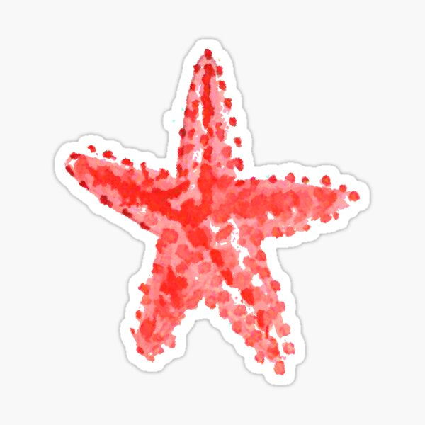 Red starfish watercolor Sticker