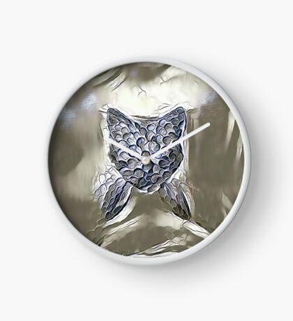 Ninja cat hiding in silver Clock