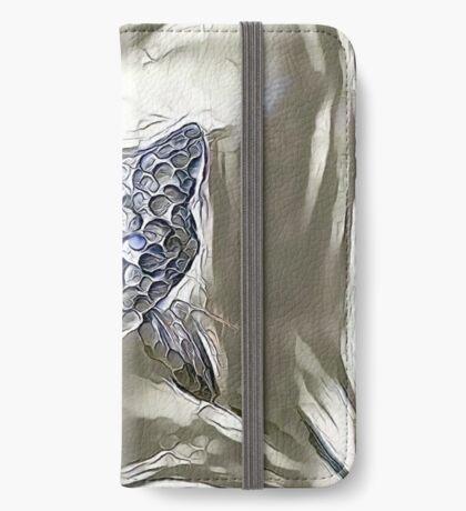Ninja cat hiding in silver iPhone Wallet