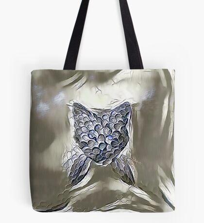 Ninja cat hiding in silver Tote Bag