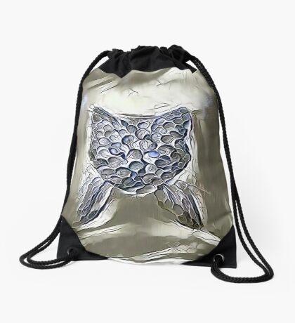 Ninja cat hiding in silver Drawstring Bag
