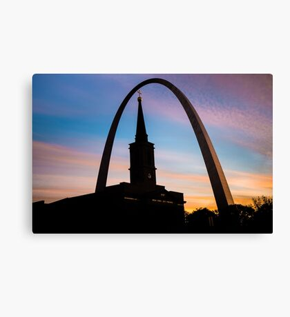 Morning Silhouettes - St. Louis Gateway Arch and the Old Cathedral at Sunrise Canvas Print