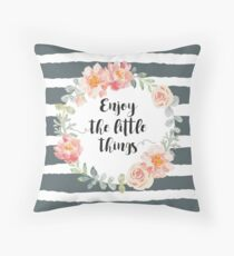 Pale pink wreath with quote on the striped background Throw Pillow