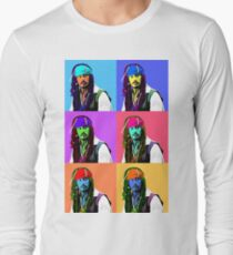 Captain Jack Sparrow Andy Warhol style Poster, Pop Art 6 Color Digital Poster Portrait. Pirates of the Caribbean. Long Sleeve T-Shirt