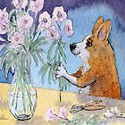 She was fond of flower arranging, Corgi dog with flowers by SusanAlisonArt