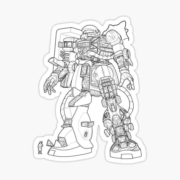 Zaku II Outline Sticker