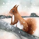 Squirrel In The Snow by Ray Shuell