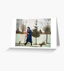Winter Walk with Dancing Cat Greeting Card