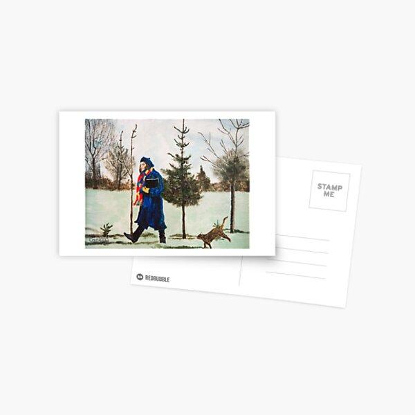 Winter Walk with Dancing Cat Postcard