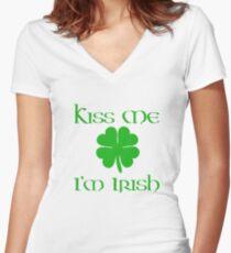 Kiss me I'm Irish St Patrick's Day Women's Fitted V-Neck T-Shirt