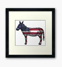 Democratic Donkey American Flag Framed Print