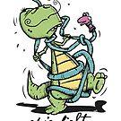 Epic fight - Dinosaur vs. Sock-Puppet-Snake by chrisbears
