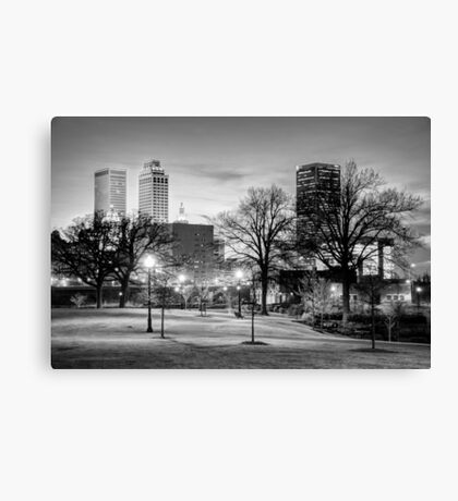 Lighted Walkway to the Tulsa Oklahoma Skyline - Black and White Canvas Print