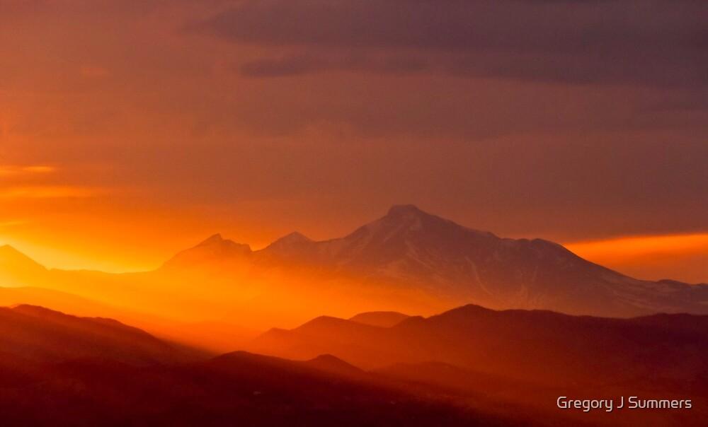Rain Of Color On Longs Peak by Gregory J Summers