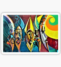 Colourful African Fetish Masks Painting Sticker