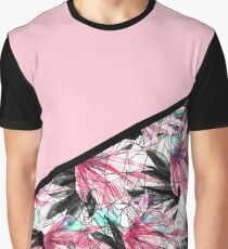 Blush Pink and Teal Abstract Tropical Leaves Graphic T-Shirt