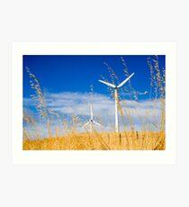 Wind farm generators over dry grass Art Print