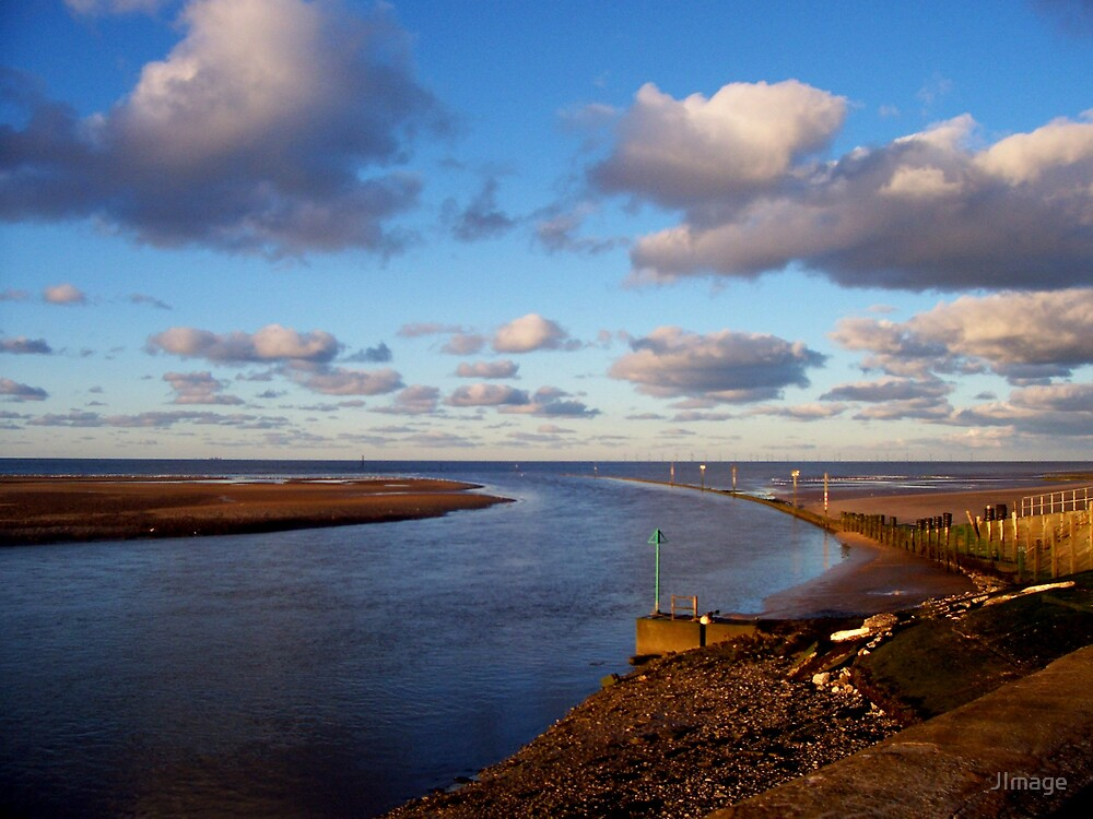 Clwyd River Meets Sea by JImage